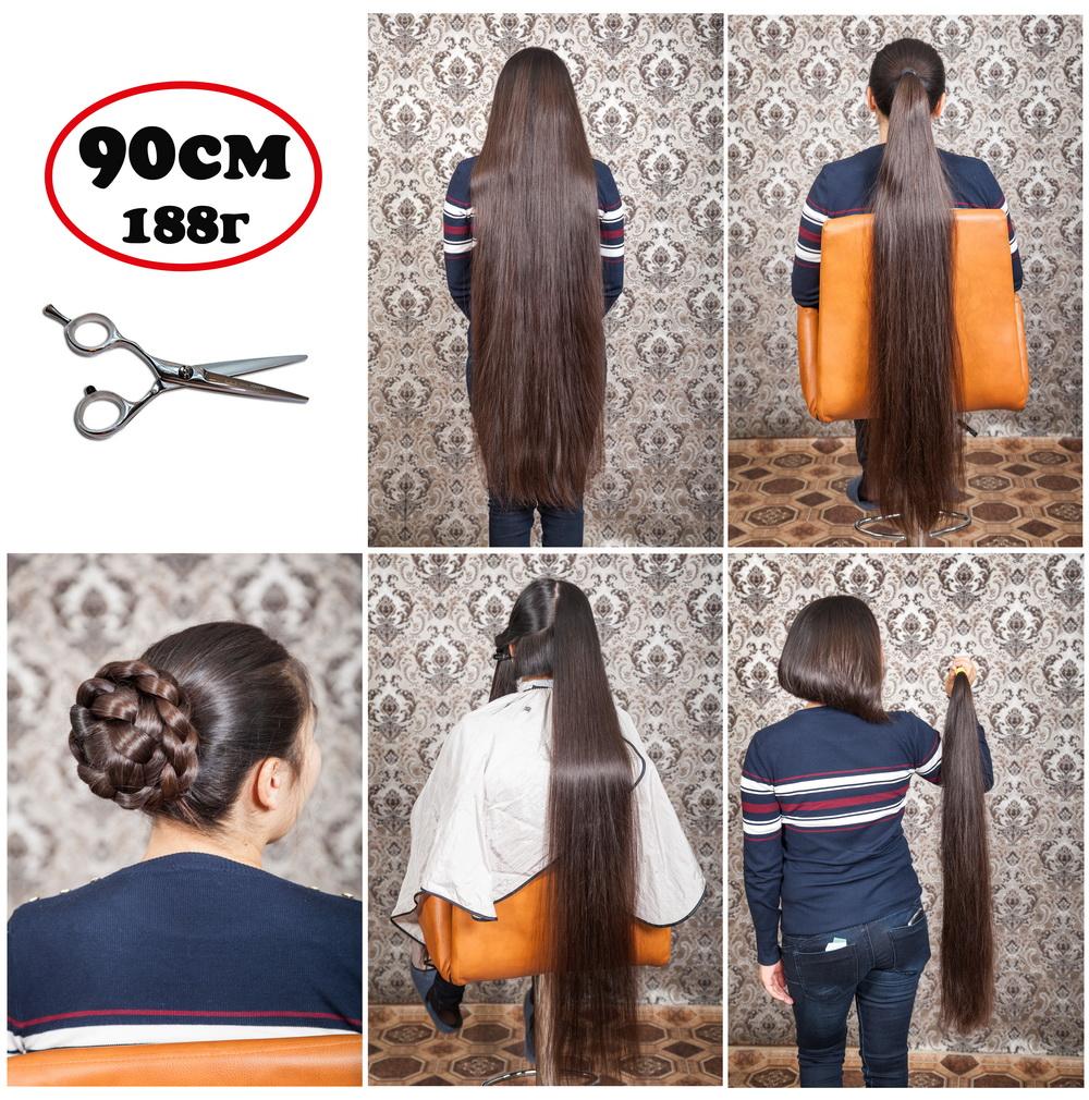в каком салоне можно купить длинные 90см натуральные живые волосы славянка срезы Алматы Казахстан