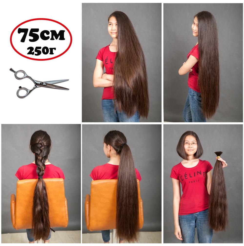 Длинные 75 см густые натуральные живые волосы русого цвета купить для наращивания Москва, Питер, Аст